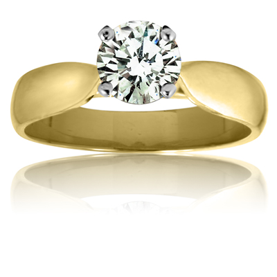 14k Yellow solitaire ring